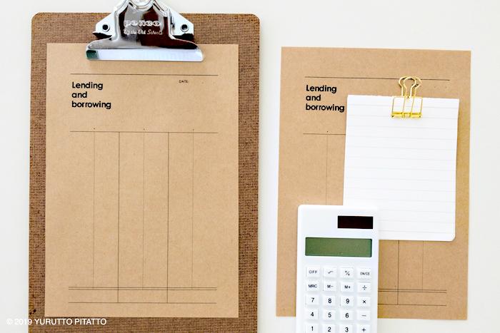 クラフト用紙のメモと電卓