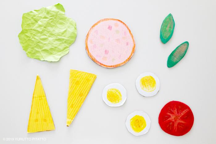 色画用紙で作ったサンドイッチの具材