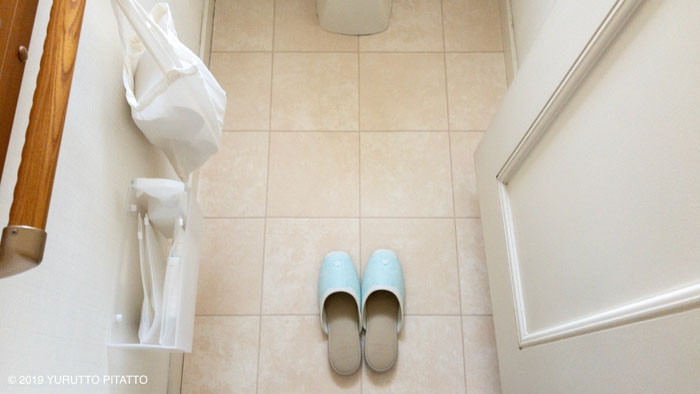 新しいクッションフロアシートのトイレの床