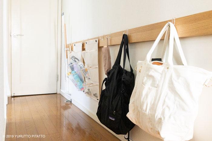 無印壁に付けられる家具を使った廊下の壁収納