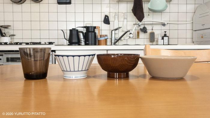 100均汁椀とティーマ、カルティオ、無印のくらわんか飯碗