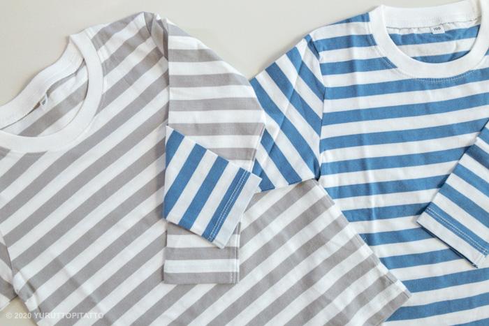 無印良品の子ども服、インド綿天竺編みボーダー長袖Tシャツ