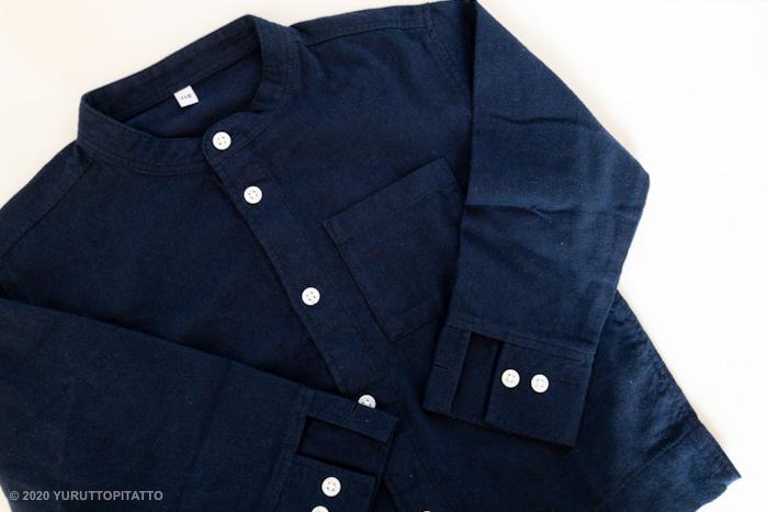 無印良品の子ども服、フランネルスタンドカラーシャツ