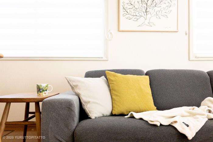 グレーのソファーの北欧インテリア