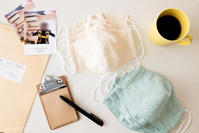 手作りの布マスクと孫の写真