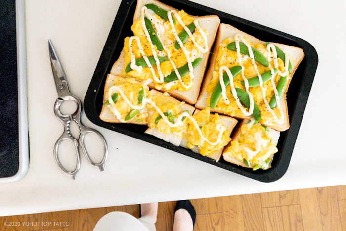 魚焼きグリル用トレイで3枚分のトーストを焼く