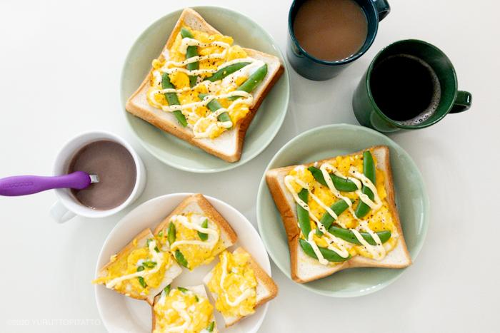 スクランブルエッグトーストと、ティーマセラドングリーン、フォレストグリーン、ダークグリーン