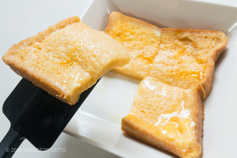 ティーマスクエアは食パンのサイズにぴったりなので卵液をムダなく染み込ませられる